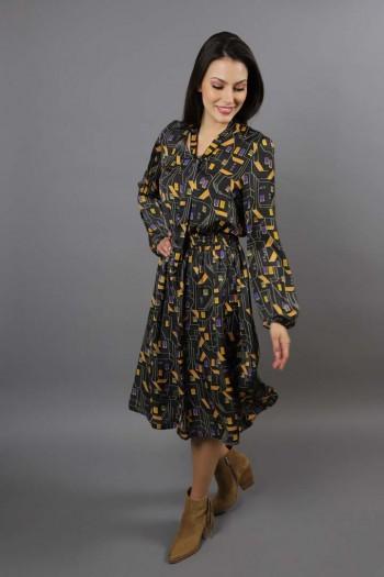 Sukienka druk domki