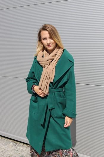 Płaszcz zielony wiązany w...